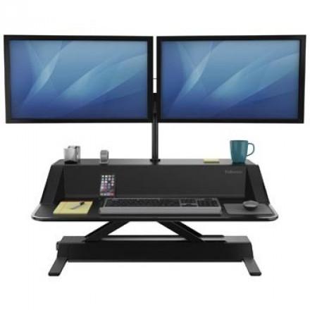 Werkstation Fellowes Lotus Zit-Sta zwart exclusief monitorarmen