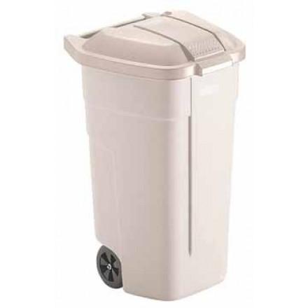 Vuilniscontainer Rubbermaid Basis mobiel zonder deksel 100l wit
