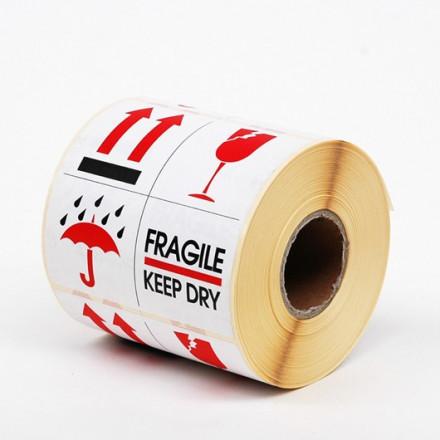 Zelfklevend etiket (fragile/keep dry)10x10 cm (500st)
