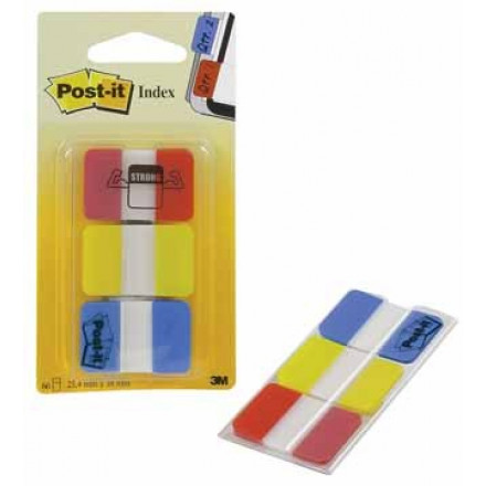 Index Post-it Strong 25,4x38mm rood, geel en blauw (3)