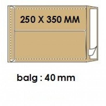 Zakomslag met balg 250X350X40 bruin + strip (250)