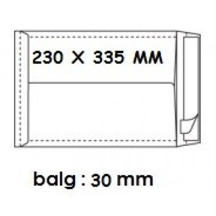 Zakomslag met balg 230X335X30 wit + strip (250)