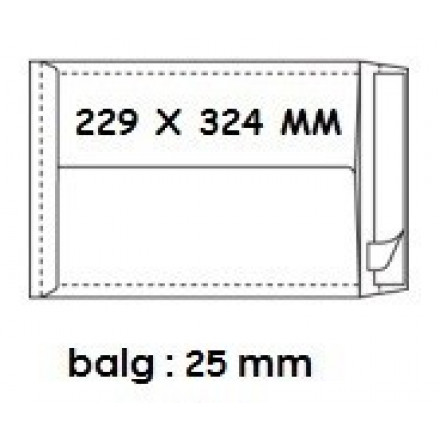 Zakomslag met balg 229X324X25 wit + strip (250)