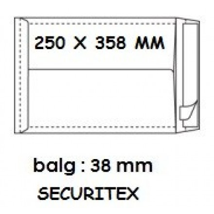 Zakomslag met balg 250x358x38 wit + strip securitex (100)