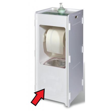 Dispenserzuil voor desinfecterend middel, papierrol en vuilnisemmer wit