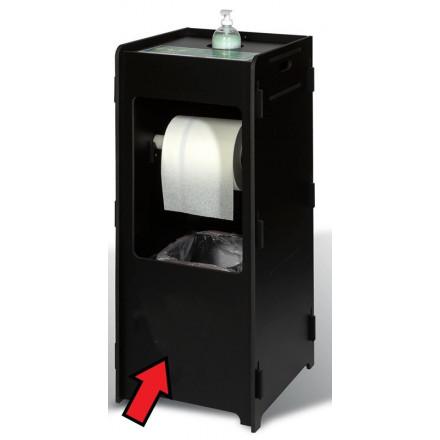 Dispenserzuil voor desinfecterend middel, papierrol en vuilnisemmer zwart