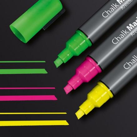 Krijtmarker Sigel 50 beitelpunt 1-5mm assorti fluo (3)