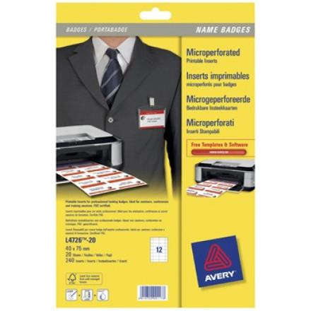 Insteekkaarten Avery voor badgehouders 12 kaarten/bl 40x75mm (20)