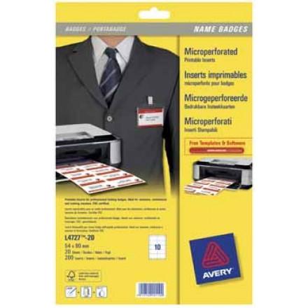 Insteekkaarten Avery voor badgehouders 10 kaarten/bl 54x90mm (20)