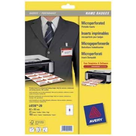 Insteekkaarten Avery voor badgehouders 08 kaarten/bl 60x90mm (20)