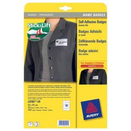 Etiket Avery Textiel 10 etik/bl 80x50mm voor laser wit (20)
