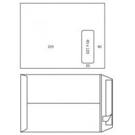 Zakomslag 230X310 wit + strip M/V rechts (250)