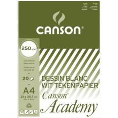 Tekenblok Canson academy 21x29,7cm 250gr wit 20 vel