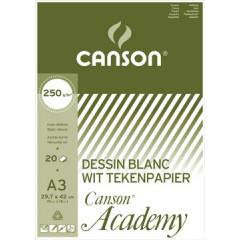 Tekenblok Canson academy 29,7x42cm 250gr wit 20 vel