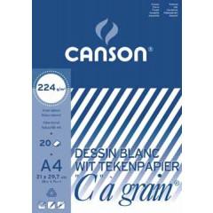"""Tekenblok Canson """"C"""" à grain 21x29,7cm 224gr wit 20 vel"""