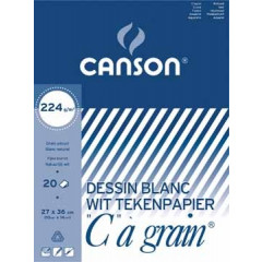 """Tekenblok Canson """"C"""" à grain 27x36cm 224gr wit 20 vel"""
