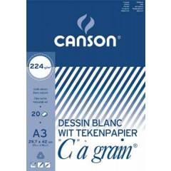 """Tekenblok Canson """"C"""" à grain 29,7x42cm 224gr wit 20 vel"""