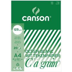 """Tekenblok Canson """"C"""" à grain 21x29,7cm 125gr wit 20 vel"""