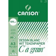 """Tekenblok Canson """"C"""" à grain 29,7x42cm 125gr wit 20 vel"""