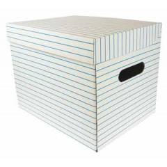 Archiefcontainer 32x26x26cm wit/rode-blauwe-groene streep