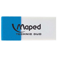 Gom duo Maped technic wit/blauw blister (2)