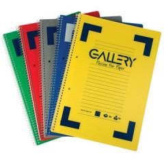 Spiraalschrift Gallery traditional PP A4 gelijnd afscheurbaar 160blz assorti