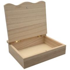 Kistje Graines Créatives met klapdeksel hout 15x15x4cm naturel