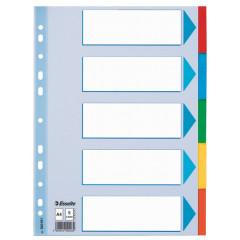 Tabbladen Esselte karton A4 160g 5 tabs 11-gaats assorti
