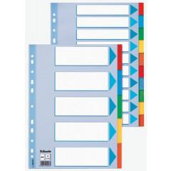 Tabbladen Esselte karton A4 160g 10 tabs 23-gaats assorti