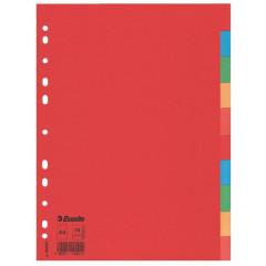 Tabbladen Esselte gerecycled karton A4 160g 10 tabs 11-gaats assorti