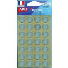 Etiketten Apli Ø 15mm zilver (112)