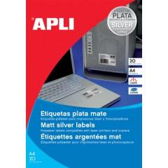 Etiketten Apli Polyester waterbestendig 1 etik/bl 210x297mm zilver (20)