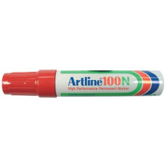 Marker Artline 100 permanent schuine punt 7,5-12mm rood