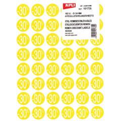 Kortinglabel Apli non-permanent -30% 24mm geel (192)