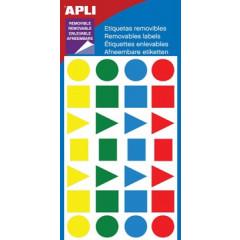 Etiketten Apli non-permanent vormen assorti 15mm (112)