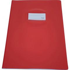 Schriftomslag Bronyl PVC A4 350 micron met venster en dubbelzijdig bedrukt etiket rood