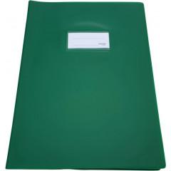 Schriftomslag Bronyl PVC A4 350 micron met venster en dubbelzijdig bedrukt etiket donkergroen