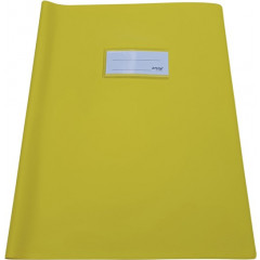 Schriftomslag Bronyl PVC A4 350 micron met venster en dubbelzijdig bedrukt etiket geel