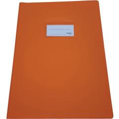 Schriftomslag Bronyl PVC A4 350 micron met venster en dubbelzijdig bedrukt etiket oranje