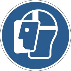 """Vloermarkering Durable sticker Ø430mm """"gelaatscherm verplicht"""" verwijderbaar blauw"""
