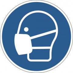 """Vloermarkering Durable sticker Ø430mm """"mondmasker verplicht"""" verwijderbaar blauw"""
