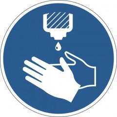 """Vloermarkering Durable sticker Ø430mm """"handen ontsmetten verplicht"""" verwijderbaar blauw"""