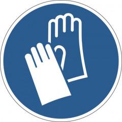 "Vloermarkering Durable sticker Ø430mm ""handschoenen verplicht"" verwijderbaar blauw"