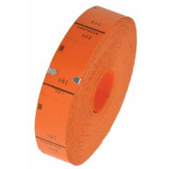 Ticketrol 65x30mm met controlestrookje 1-1000 oranje
