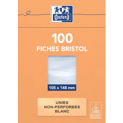 Flashcard Oxford karton 105x148mm 210g ongeperforeerd blanco wit (100)