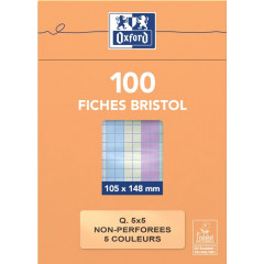 Flashcard Oxford karton 105x148mm 210g ongeperforeerd geruit assorti (100)