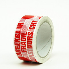 Kleefband PP 50mm x 66m breekbaar wit/rood