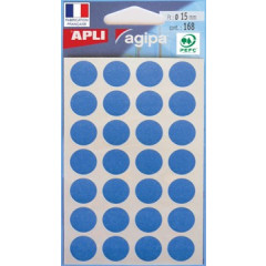 Etiketten Apli Ø 15mm blauw (168)