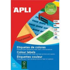 Etiketten Apli 24 etik/bl 70x37mm geel (100)