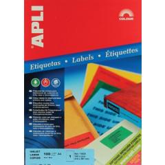 Etiketten Apli 1 etik/bl 210x297mm blauw (100)